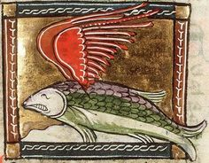 Sawfish-medieval folklore: a huge fish that has wings that it uses to race ships. When it gets tired it dives back in the ocean to eat fish. The wings would take wind from the ships sails and make it go slower. It also had a crest that it used to cut ships when it swam under them.