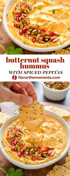 Butternut Squash Hummus with Spiced Pepitas is sweet, smoky, and topped with crunchy spice roasted pepitas! {Vegan, GF} @FlavortheMoment