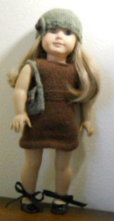 FREE American Girl Knitted Doll Clothes Pattern for a Merino Wool Dress.