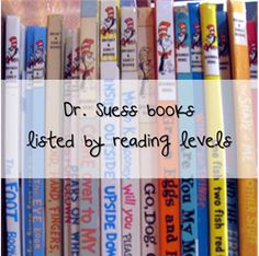 Dr Seuss books listed by reading levels. Plus links to other Seuss related projects and activities Kids Reading, Reading Activities, Teaching Reading, Teaching Tools, Fun Learning, Guided Reading, Reading Resources, Reading Lists, Teaching Ideas