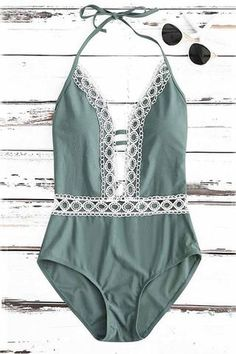 Ellady Deep Plunge Neck Crochet Panel Halter Backless One Piece Swimsuit - M / DarkSeaGreen