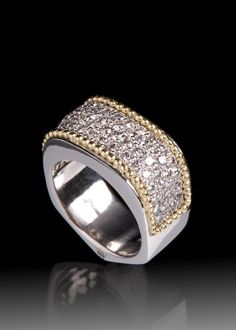 JPratt Designs: Custom designed and created platinum and diamond ladies band with yellow gold accents
