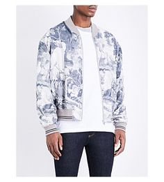 MAISON MARGIELA Jungle-print silk and cotton-blend bomber jacket (Jungle off blk overlock