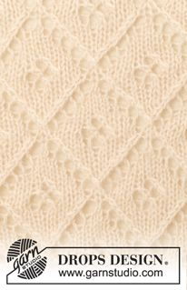 """French garden - Knitted DROPS shawl with lace pattern in """"BabyAlpaca"""" and """"Kid-Silk"""". - Free pattern by DROPS Design"""