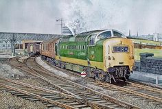 """""""I've not posted this before it's completely new to me! 'The Durham Light Infantry' painted by artist Andrew Shimmin"""" Train Drawing, Art Transportation, Railroad Pictures, Railroad History, Holland, Travel Ads, Train Art, Electric Train, British Rail"""