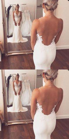 Sexy Wedding Dresses,Mermaid Wedding Dresses,Lace Wedding Dress,Sheer Back Wedding Dresses,Long Ivory Wedding Dresses,Beach/Coast Wedding Dress