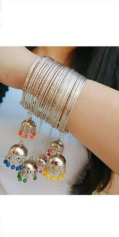 Items similar to Traditional Silver Tassel Style Charms Adjustable Bangle Kada Bracelet, jhumki bangle on Etsy Antique Jewellery Designs, Fancy Jewellery, Stylish Jewelry, Cute Jewelry, Fashion Jewelry, Silver Jewelry, Thread Jewellery, Girls Jewelry, Crystal Jewelry