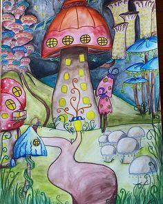[Scroll Down For English] --------------------------- 👉(Portuguese) A última adição ao meu portfólio. 29.7 x 42cm a #aguarela e #caneta 😊 Gostava de viver aqui... 👉(English) The latest addition to my portfolio. 29.7 x 42cm in #watercolours and #markers 😊 I'd like to live here.  #mushroomcity #whimsical #illustration #drawing #art #fantasy #beart #beartdiy #mushroomhouse