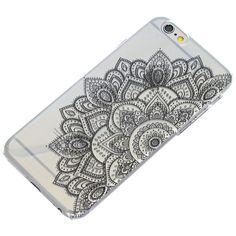 Half Black Mandala Henna Transparent Clear Phone by ClashCases