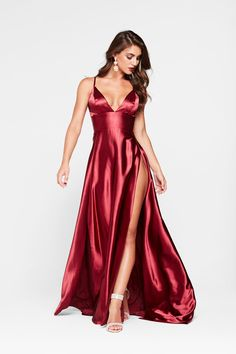 In stock - Tiffany Satin Gown - Burgundy Red Satin Dress, Satin Gown, Satin Dresses, Silk Dress, Sexy Dresses, Dress Skirt, Fashion Dresses, Prom Dresses, Formal Dresses