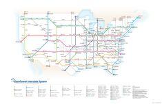 Eisenhower Interstate System: Subway version of the US interstate system