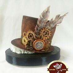 Steampunk Hat -CPC century of fashion collaboration - Cake by astrid Just Cakes, Cakes And More, Cake Icing, Cupcake Cakes, Steampunk Wedding Cake, Steampunk Kitchen, Alice In Wonderland Cakes, Fantasy Cake, Hat Cake