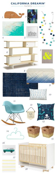 Modern nautical nursery design board