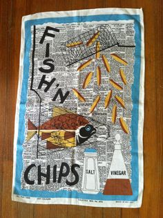 Reserved for Laila Vintage Fish Chips Towel British Fish And Chips, British Dishes, Fish And Chip Shop, Food Truck Design, Artistic Installation, Vintage Fishing, Food Illustrations, Tea Towels, Screen Printing
