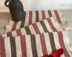 Chemin de Table rayé beige, chemin de Table avec des rayures rouges et sombres, chemin de Table de Style Antique, lin rustique, chemin de Table de Style Vintage