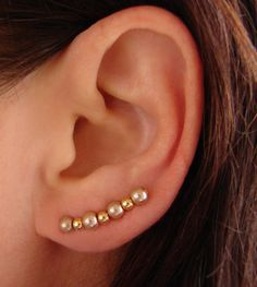 Ear Pins - Champagne Gold Glass Pearls and Gold beads Earrings - Pair