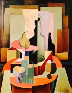 Henrietta M. King Cubist Still Life American California 1930 - - Cubist Drawing, Cubist Art, Abstract Art, Art Deco Table, Painting Corner, French Art Deco, Cherry Blossom Art, Art Brut, Arte Pop