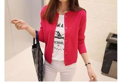 Cheapest Sweaters Fashion Pure Color Round Collar Short Paragraph Sweater Red