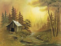 Bob Ross Paintings Landscapes | a wood cabin for Mother Nature - sunset or sunrise - web - MReno