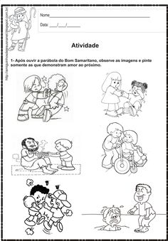 Atividade bíblica - O bom samaritano Verses For Kids, Bible Stories For Kids, Bible Study For Kids, Bible Coloring Pages, Coloring Pages For Boys, Cause And Effect Activities, Bible Lessons For Kids, Kids Church, Kids Education