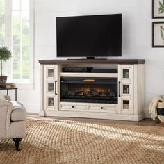 Decorators Collection Cecily 72 in. Media Console Infrared Electric Fireplace in Antique. Home Decorators Collection Cecily 72 in. Media Console Infrared Electric Fireplace in Antique White with Warm Charcoal Top Finish, . Decor, Living Room With Fireplace, Fireplace Console, Media Console, Fireplace Tv, Freestanding Fireplace, Home Decorators Collection, Fireplace Tv Stand, Fireplace