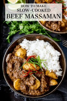 Cooked Beef Massaman Curry - Rich, fall-apart beef in a spicy homemade sauce with new potatoes.Slow Cooked Beef Massaman Curry - Rich, fall-apart beef in a spicy homemade sauce with new potatoes. Indian Food Recipes, Asian Recipes, Turkish Recipes, Spicy Recipes, Beef Massaman Curry, Thai Beef Curry, Thai Curry Recipes, Beef Curry Indian, Slow Cooker Recipes