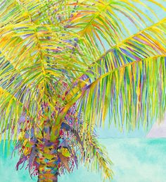 The Palm-Watercolor canvas, archival inks, watercolor paintings- Tropical theme wall decor for your home