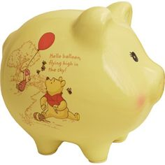 Disney Winnie the Pooh Piggy Bank, Yellow- babys first piggy bank. sooooo cxute. goes with my theme ~