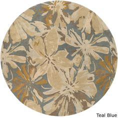 Hand-tufted Putty (Pink) Wrigley Wool Rug (6' Round) (Teal Blue)
