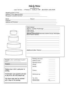 Cake Order Form  DOC cakepins.com