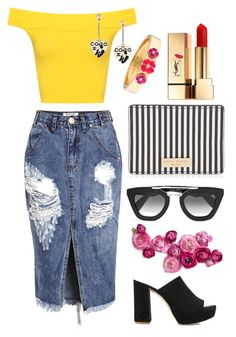 """""""Untitled #87"""" by gina-cremont ❤ liked on Polyvore featuring Yves Saint Laurent, WearAll, Chanel, Kate Spade, Henri Bendel, One Teaspoon, Prada and Mansur Gavriel"""