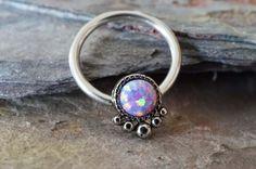 Septum Ring Purple Opal CBR Hoop Septum Cartilage by MidnightsMojo