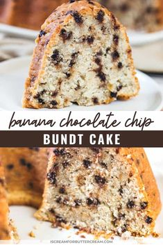 This banana chocolate chip cake is an easy bundt cake to make. It's so moist and tastes like banana bread plus the mini chocolate chips really add to the flavor. Banana Recipes, Cake Recipes, Dessert Recipes, Baking Desserts, Cake Baking, Chocolate Chip Banana Bread, Chocolate Chips, Recipes Using Sour Cream, Banana Bundt Cake