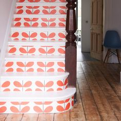 : painted floors and stairs.: painted floors and stairs. Hallway Colour Schemes, Hallway Colours, Pink Hallway, Color Schemes, Hallway Wallpaper, Of Wallpaper, Orange Wallpaper, Modern Wallpaper, Geometric Wallpaper