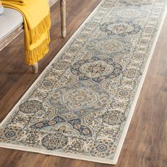 Persian Garden Collection PEG611C Color: Ivory / Light Blue - #safavieh #safaviehrugs #safaviehrunners #rugrunners #rugs #hallwayrugs #entrywayrugs #staircaserugs #staircasecarpets #entrywaycarpts #bedroomrugs #livingroomrugs #diningroomrugs #kitchenrugs #hallwaydecor #entrywaydecor #shoprugs #runnercarpets #bluerunnerrug #tauperunnerrug