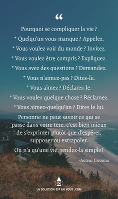 La vie serait plus simple. Words Quotes, Life Quotes, Burn Out, French Quotes, Positive Attitude, Positive Things, Some Words, Positive Affirmations, Beautiful Words