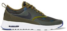 Nike - Air Max Thea Leather And Jacquard Sneakers - Army green