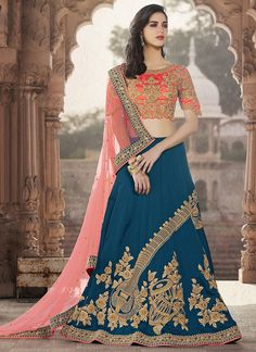 Looking to Buy Lehenga Online: Buy Indian lehenga choli online for brides at best price from Andaaz Fashion. Choose from a wide range of latest lehenga choli designs. Lehenga Style, Silk Lehenga, Bridal Lehenga, Sari, Blue Lehenga, Choli Designs, Lehenga Designs, Indian Dresses, Indian Outfits