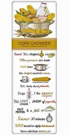 Garden Corn Chowder Recipe 100% Cotton Flour Sack Dish Towel Tea Towel