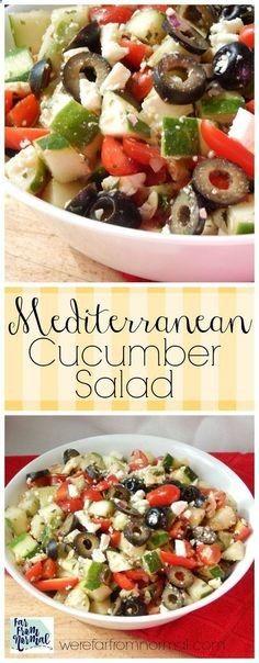 Mediterranean Salad - Fresh tomatos, cucumbers, feta and more! The perfect summer salad!