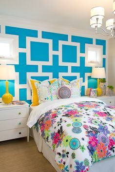 Plan 2 Girl's Bedroom at Arista at the Crosby by Davidson Communities. Interior Design by Design Line Interiors. Bright colors and turquoise walls make for a teen dream!