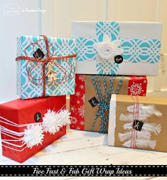 5 Fast and Fabulous Gift Wrap Ideas. Adorable and perfect for last minute gift wrapping.