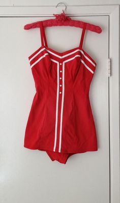 1950's red swimsuit pinup bathing suit by by BetsyFernVintage, $45.00