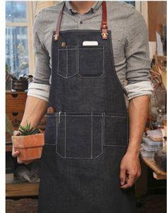 Unisex Blue Denim Bib Apron with Adjustable Genuine Leather Straps and Convenient Pockets. Suitable for Uniforms of Barber,Hairdresser,Barista,Bartender,Stylist,Waiter/Waitress,Florist,Painter,Gardener, Baker,Chef,or Work ware of Cafe, Bistro, Restaurant,Bakery,Tattoo shop,Craft workshop etc.