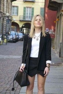 Classy and smart look by Piera Anastasia from @MyStyleRecipe: white blouse with black blazer and Zara skorts! On #Styloola