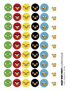"1"" circle printable Angry Birds; lots of ideas for a kids Angry Birds party. Christy this is for you!"