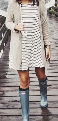 #summer #outfits  Beige Cardigan + White Stripped Dress + Olive Boots