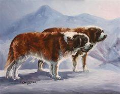 """Saint Bernards"" - Original Fine Art for Sale - © Sue Deutscher"