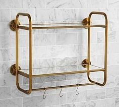 Shop bathroom wall shelves from Pottery Barn to maximize storage space. Browse wood, metal and glass bath wall shelves in different styles to enhance your bathroom. Bathroom Spa, Glass Bathroom, Small Bathroom, Master Bathroom, Bathroom Marble, Bathroom Ideas, Modern Bathroom, Barn Bathroom, Bathroom Makeovers