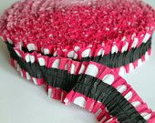 Hot Pink/White Polka Dot and Black Crepe Paper Ruffle Garland